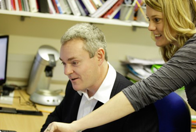 Dave Lee and Nicola Robbins in the Amac offices.